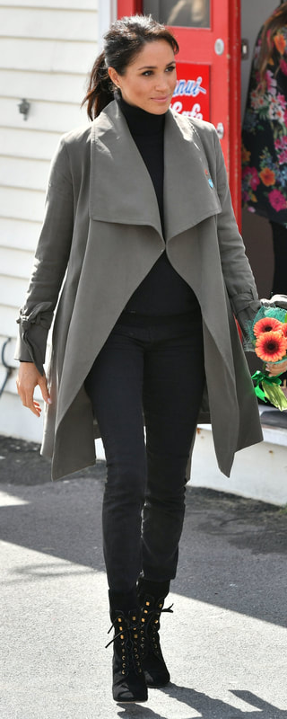 Stuart Weitzman Veruka Black Suede Lace-Up Boot as seen on Meghan Markle, the Duchess of Sussex in Wellington new Zealand