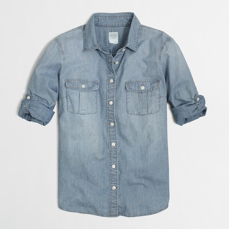 J.Crew Classic Chambray Shirt in Perfect Fit - Color Afternoon Sky