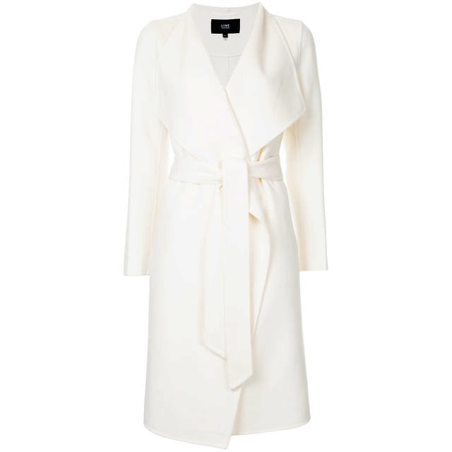 Line The Label Meghan White Wrap Coat - Meghan Markle Engagement Coat