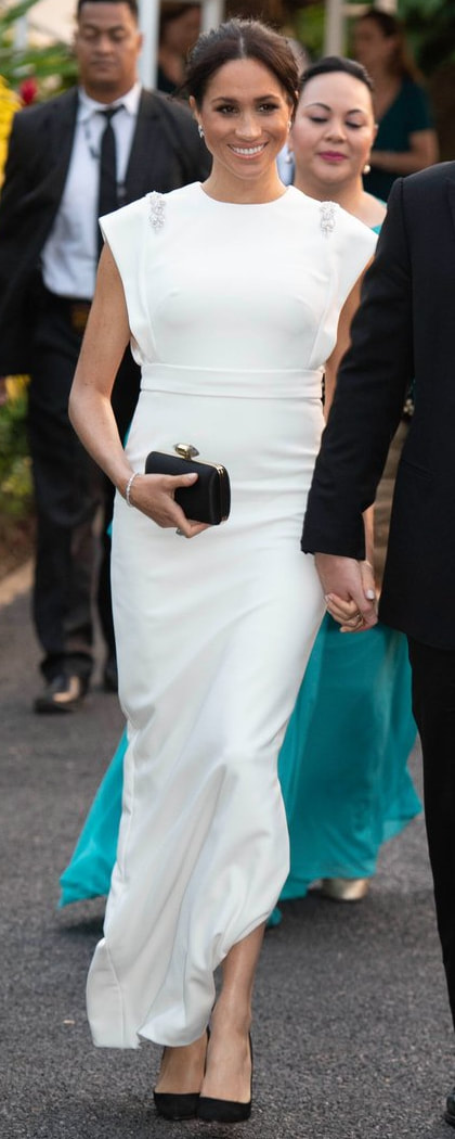 Theia Ivory Beaded Crepe Column Gown as seen on Meghan Markle, the Duchess of Sussex for Tonga recpetion