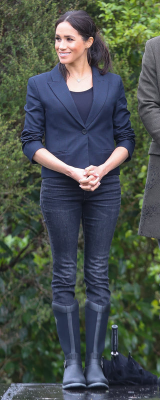 Karen Walker Fathom Dark Navy Jacket as seen on Meghan Markle, the Duchess of Sussex