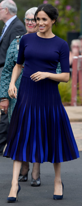 Givenchy Multi Blue Pleated Skirt as seen on Meghan Markle, the Duchess of Sussex