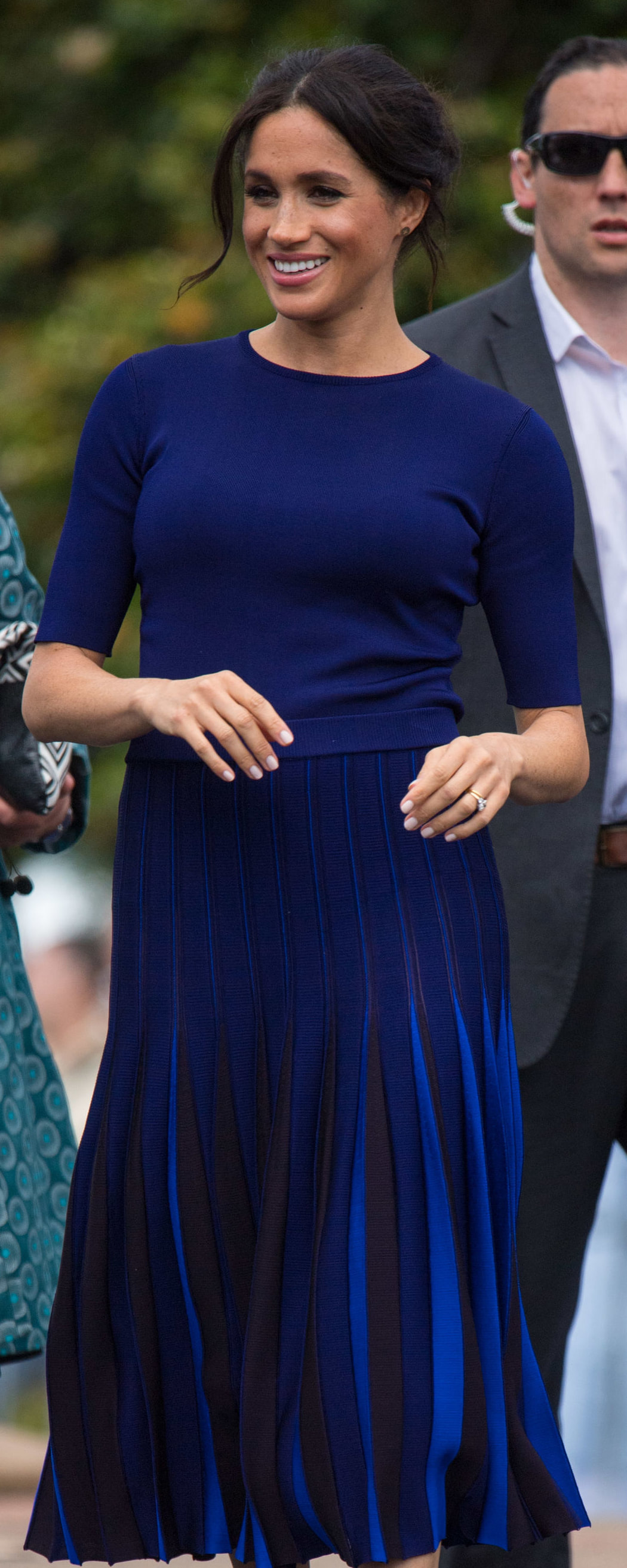 Givenchy Indigo Crew Neck Knit Top as seen on Meghan Markle, the Duchess of Sussex