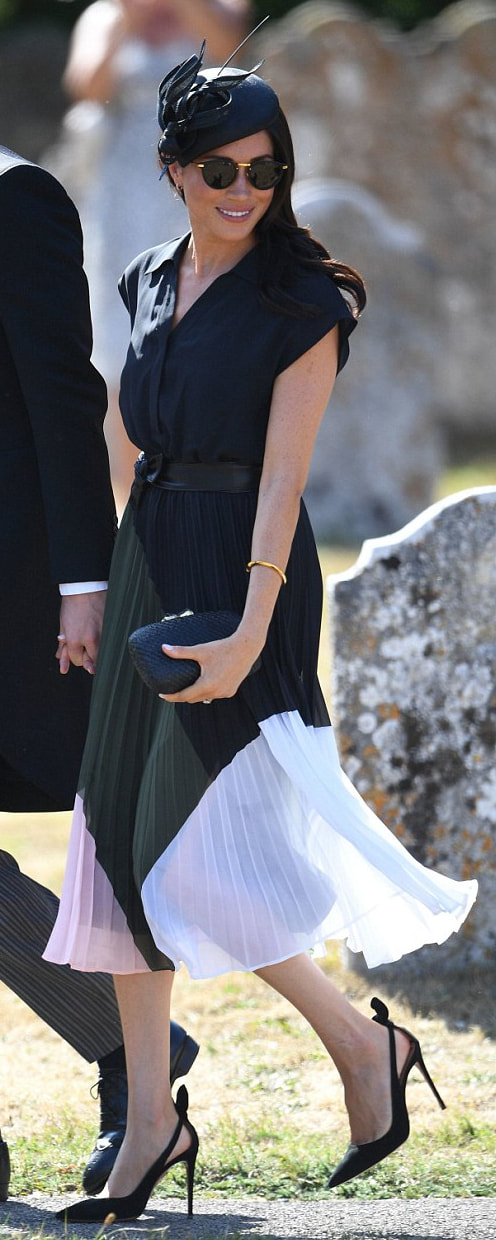 Club Monaco Shoanah Dress as seen on Meghan Markle, the Duchess of Sussex at wedding of Charlie van Straubenzee and Daisy Jenks