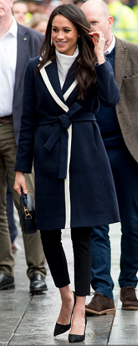 Meghan Markle wears J.Crew Navy Tipped Topcoat as seen on Meghan Markle in Birmingham on March 2018