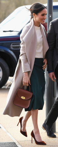 Charlotte Elizabeth Bloomsbury Bag in Chestnut Leather as seen on Meghan Markle