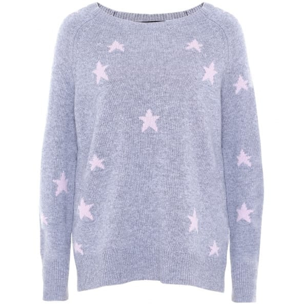 360 Cashmere Stella Star Sweater in Heather Rose and Grey