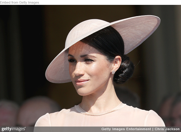 Meghan Markle wears dusty pink Philip Treacy hat for Buckingham Palace Garden Party