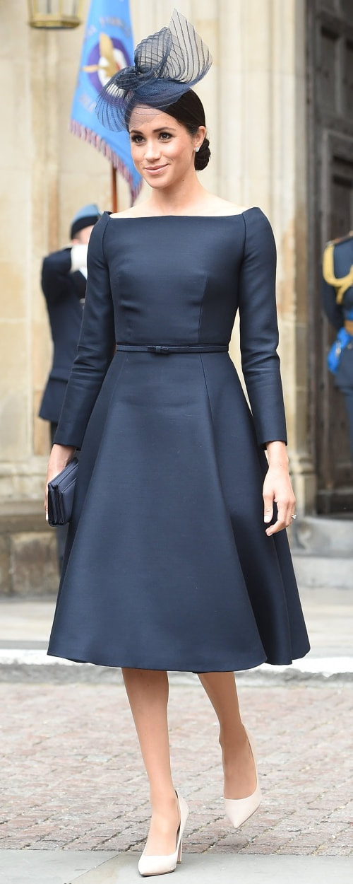 Dior Navy Satin Bee Clutch Bag as seen on Meghan Markle, the Duchess of Sussex at RAF Centenary Service
