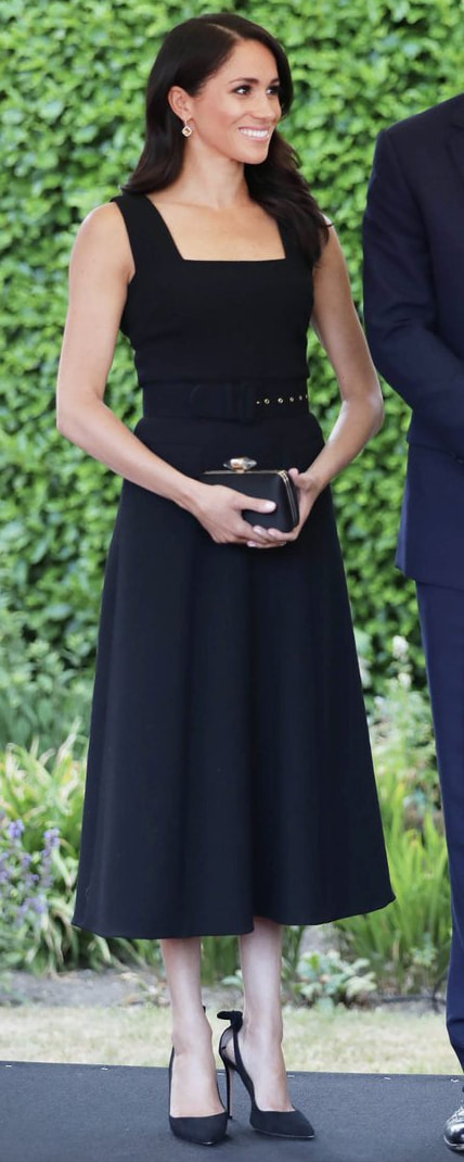 5413faacb3 Givenchy Black Satin Clutch With Jewelry Clasp as seen on Meghan Markle