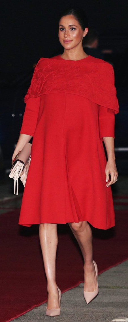 Valentino Red Dress With Embroidered Shoulder Wrap as seen on Meghan Markle, the Duchess of Sussex