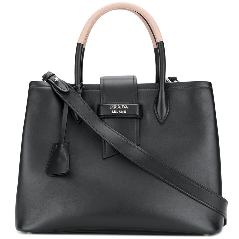 8109c4cd2d4a Prada Paradigm Black Leather Tote Bag - Meghan Markle's Handbags ...