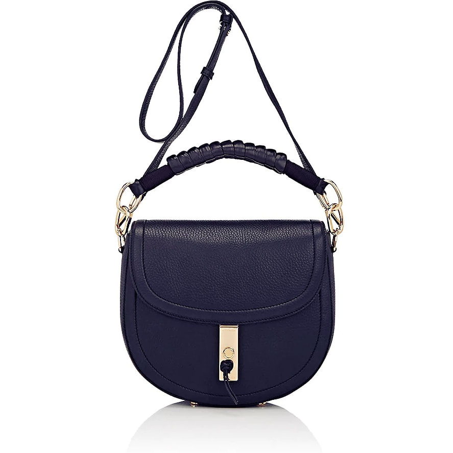 Altuzarra Ghianda Saddle Bag In Navy Grain Leather