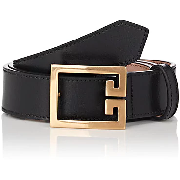 Givenchy Black Double G 2G Buckle Belt