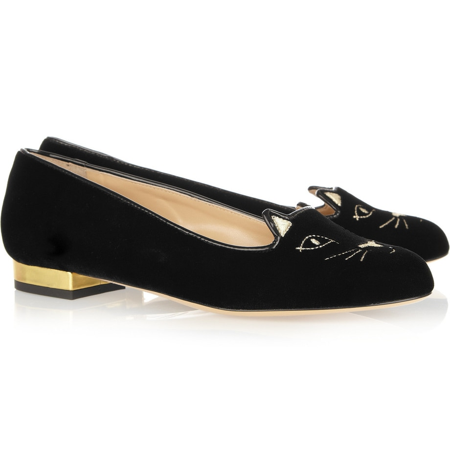 Charlotte Olympia Black Kitty Embroidered Velvet Slippers