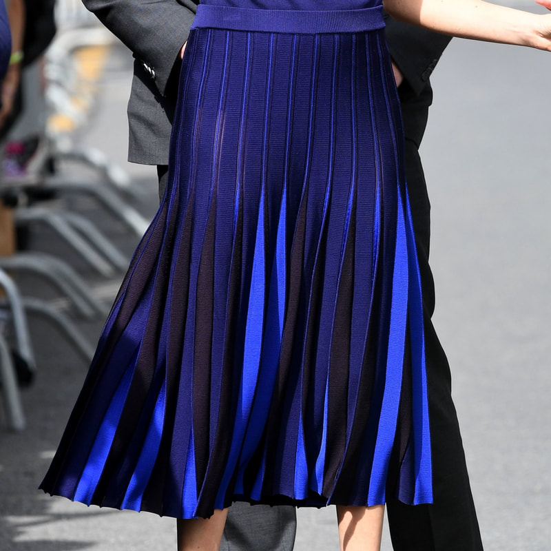 Givenchy Multi Blue Pleated Skirt