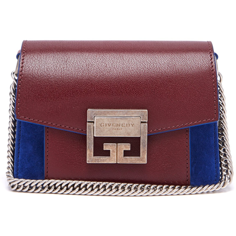 Givenchy GV3 Mini Crossbody Bag in Burgundy Leather and Blue Suede