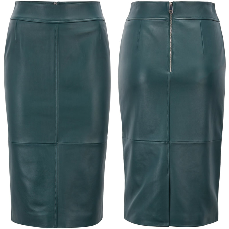 Hugo Boss Selrita Green Lambskin-Leather Pencil Skirt with Panelled Structure