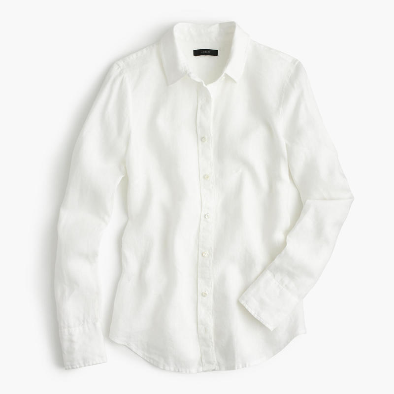 81f3bf2b4e4 J.Crew White Perfect Shirt in Piece-Dyed Irish Linen