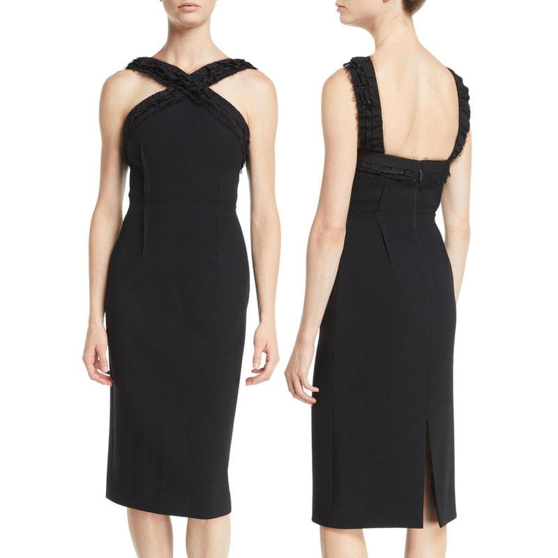 Jason Wu Ruched-Trim Sleeveless Compact Crepe Sheath Day Dress