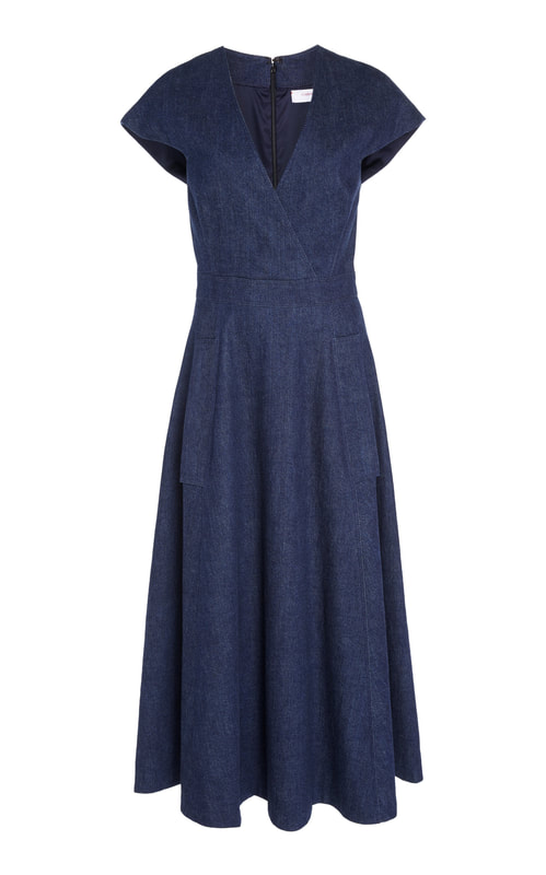 Carolina Herrera V-Neck Faux Wrap Denim Midi Dress