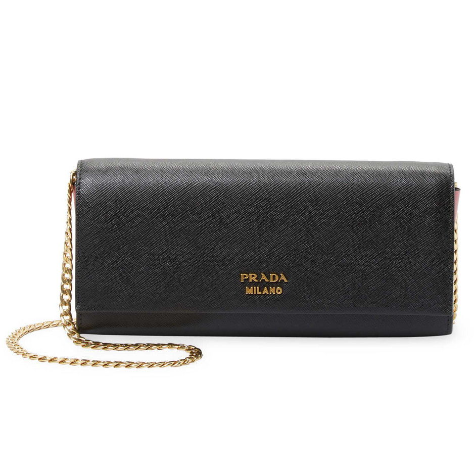 Prada  Biblioteque  Saffiano Leather Chain Clutch 6b32c10b377e4
