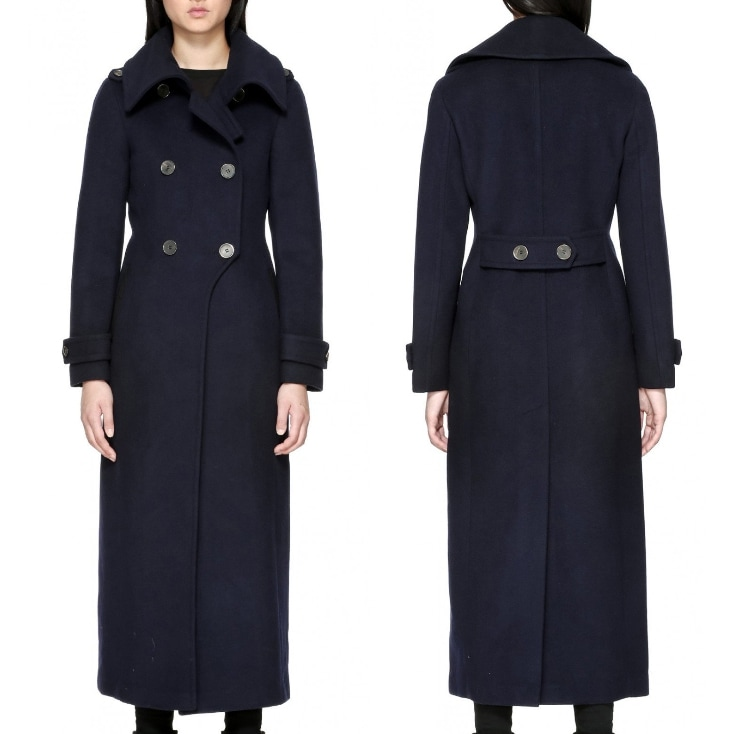 Mackage Elodie Navy Double Buttoned Tailored Wool Coat