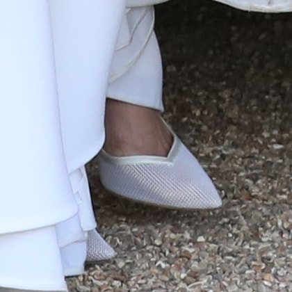 Meghan Markle's Aquazurra wedding reception shoes