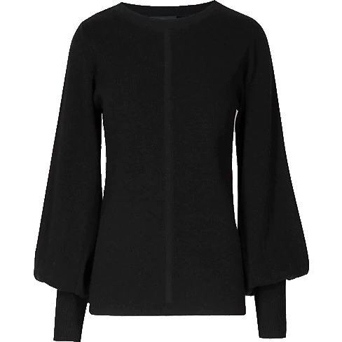 Marks & Spencer AUTOGRAPH Wool Blend Round Neck Bell Sleeve Jumper