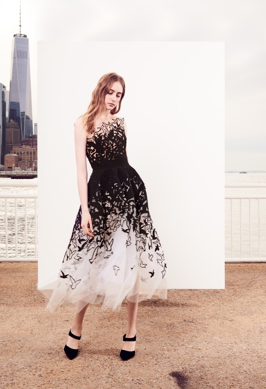 Oscar de la Renta white tulle gown with black bonded looped ribbon tweed laser cut birds. Pre-Fall 2018