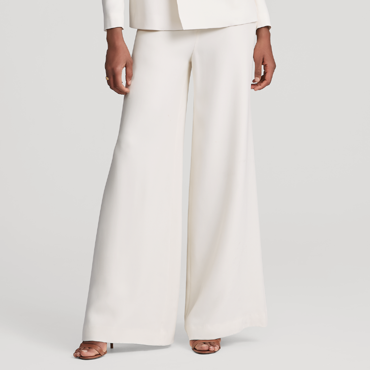 Ralph Lauren Cream Charmain Silk Wide-Leg Pant