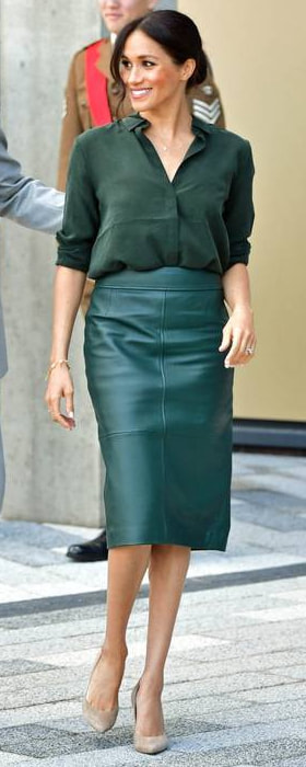 Hugo Boss Selrita Green Lambskin-Leather Pencil Skirt as seen on Meghan Markle, the Duchess of Sussex in Sussex