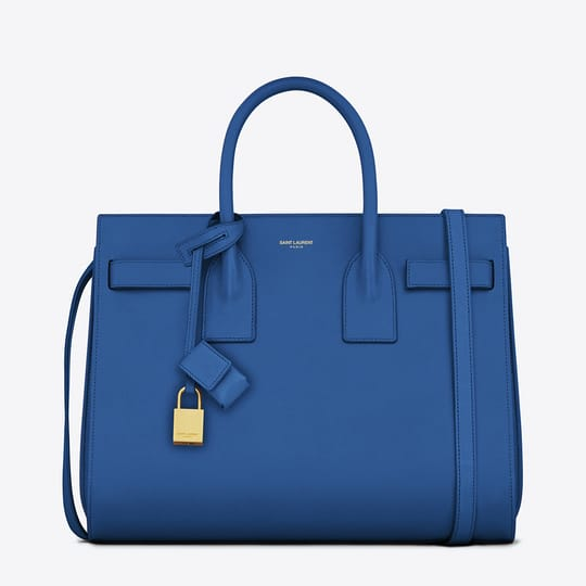 Saint Laurent Sac de Jour Bag in Royal Blue Leather