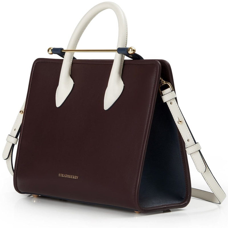 Strathberry 'Midi' Colourblock Tote in Burgundy/Navy/Vanilla