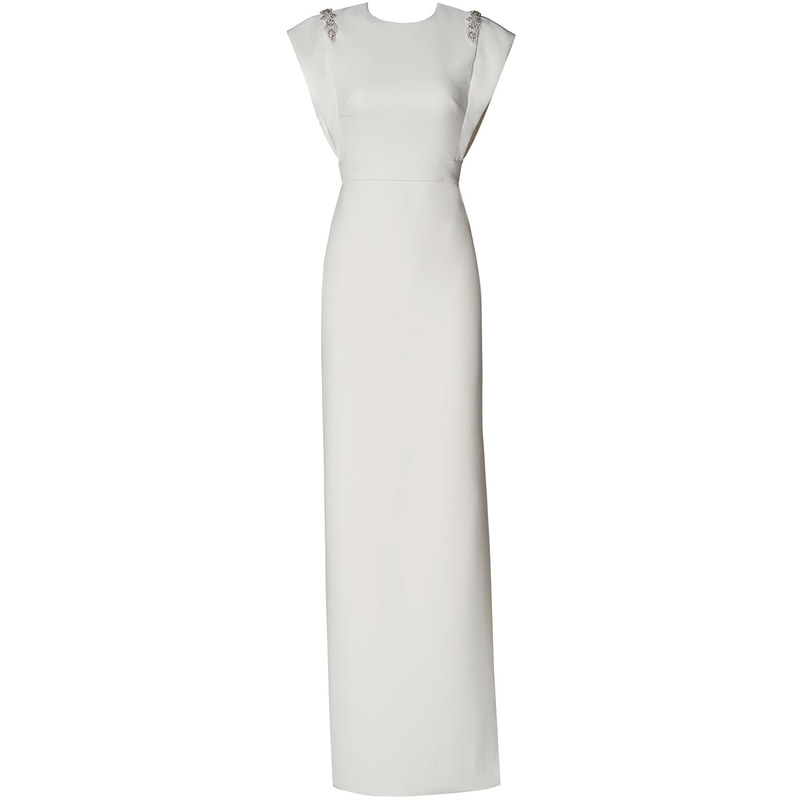 Theia Couture Ivory Beaded Crepe Column Gown