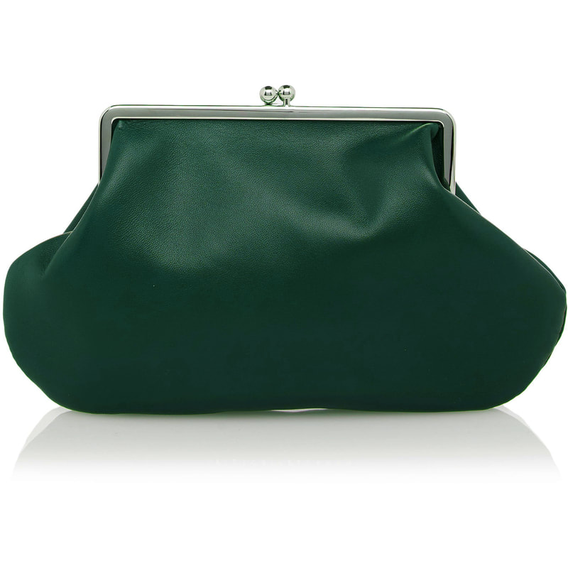 48e095bfe54d Victoria Beckham Dark Green Satin Pocket Clutch
