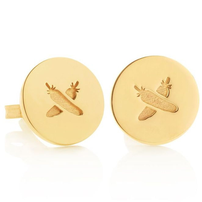 Boh Runga 'Feather Kiss' Gold Discologo Studs