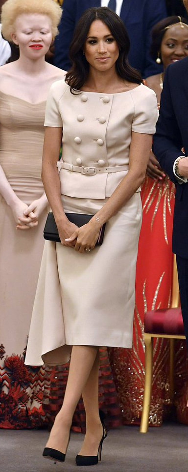 Prada Biblioteque Saffiano Leather Chain Clutch Bag as seen on Meghan Markle at Queen's Young Leaders reception