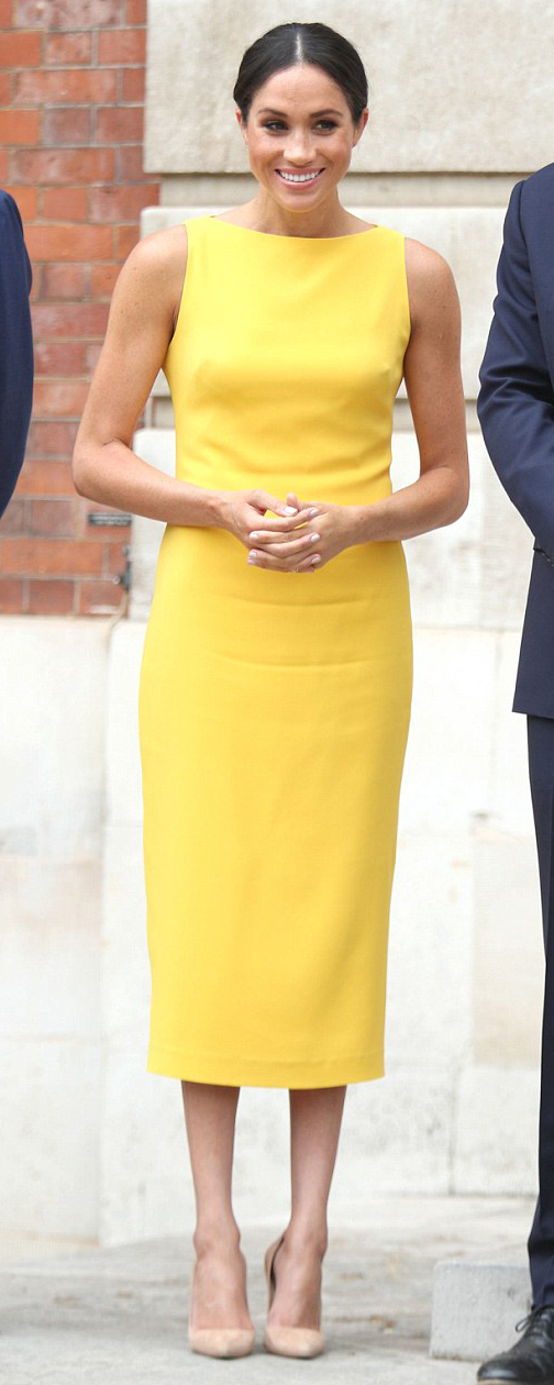 Brandon Maxwell Yellow Crepe Midi Dress as seen on Meghan Markle, the Duchess of Sussex at Commonwealth Youth Reception July 2018