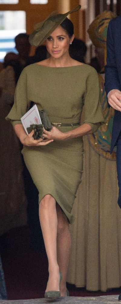 Stephen Jones Olive Green Hat​ as seen on Meghan Markle, the Duchess of Sussex at Prince Louis christening