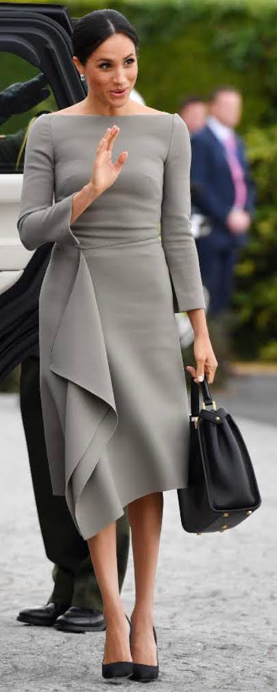 Fendi Peekaboo Essential Bag in Black Calfskin as seen on Meghan Markle, the Duchess of Sussex in Dublin Ireland