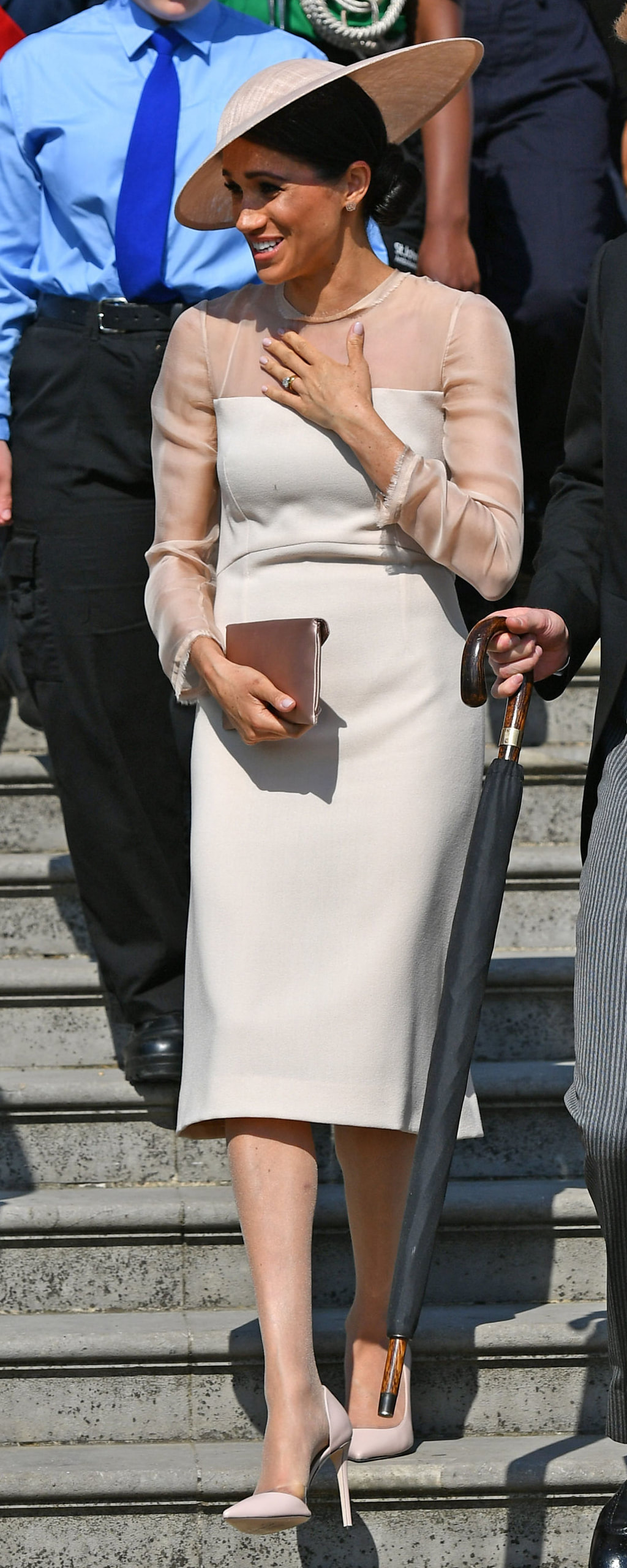 Philip Treacy Dusty Pink Straw Disc Hat as seen on Meghan Markle at Buckingham Palace garden party 2018