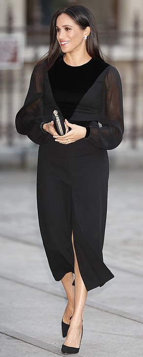 Givenchy Black Velvet-Appliquéd Midi Dress as seen on Meghan Markle, the Duchess of Sussex at opening of the Oceania exhibition