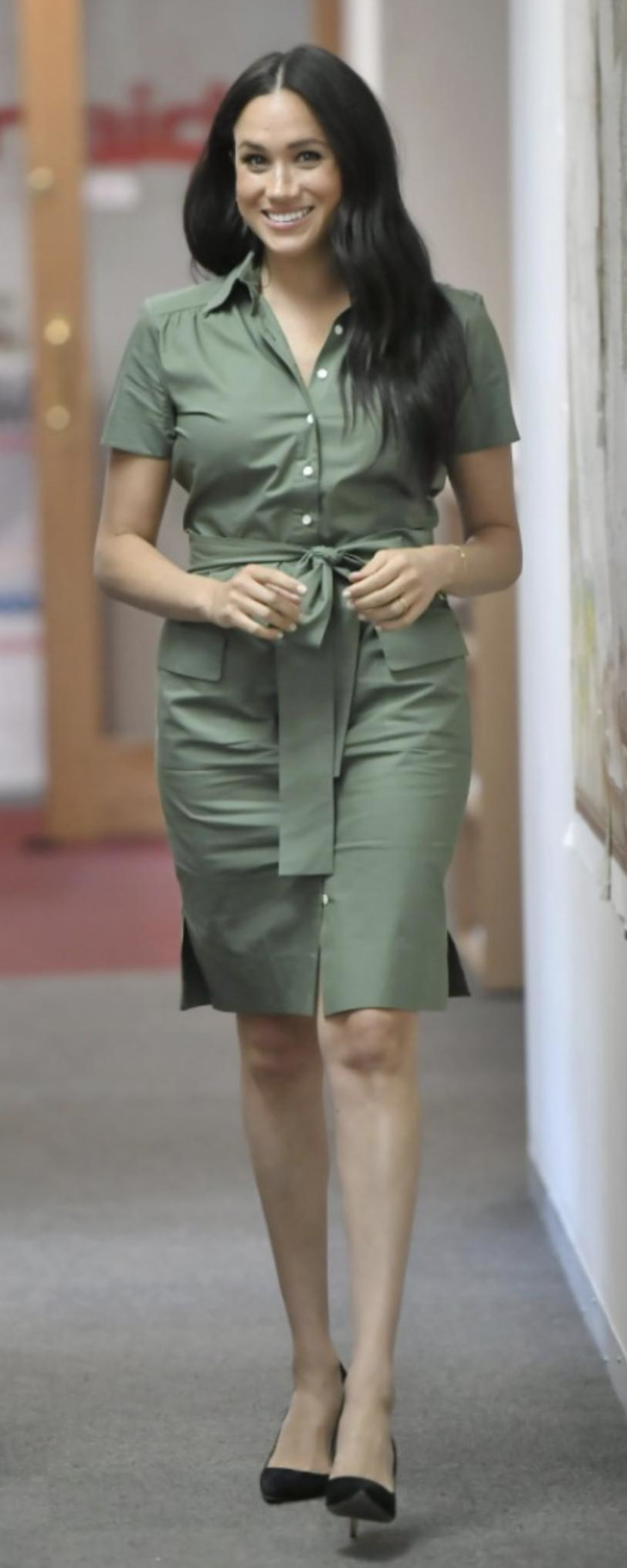 Room 502 ​Khaki Model 2 - Stephanie Shirt Dress as seen on Meghan Markle, the Duchess of Sussex