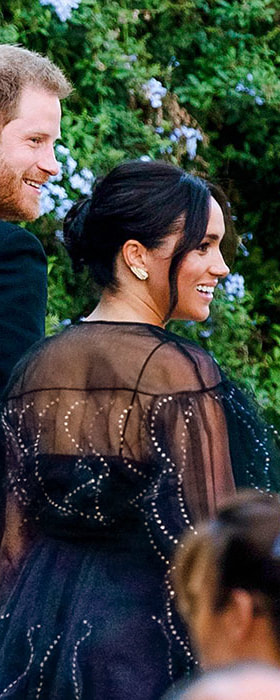 Valentino Black Puff-Sleeve Embroidered Tulle Gown as seen on Meghan Markle, the Duchess of Sussex