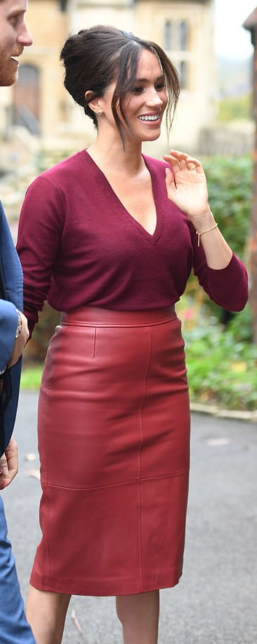 Hugo Boss Selrita Ruby Leather Pencil Skirt as seen on Meghan Markle, the Duchess of Sussex
