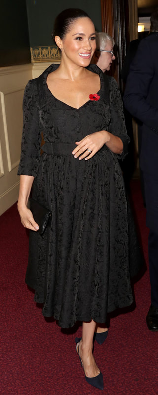 Erdem Merril Black Floral-Jacquard Dress as seen on Meghan Markle, the Duchess of Sussex