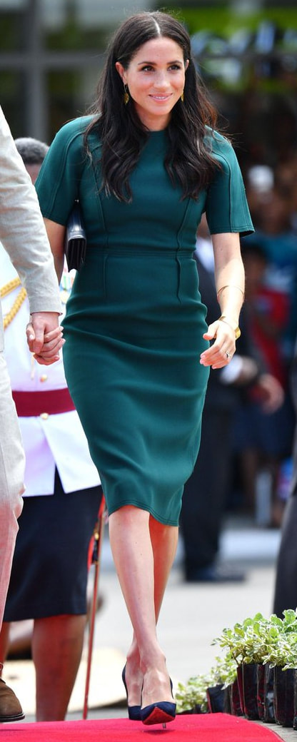 Jason Wu Peacock Teal Crepe Sheath Dress as seen on Meghan Markle, the Duchess of Sussex in Fiji