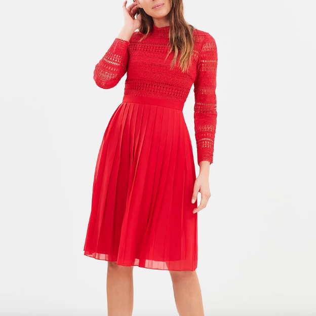 Self Portrait Red Embroidered Midi Dress Meghan Markle
