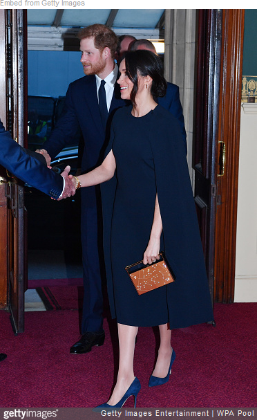 Stella McCartney Navy Blue Cape Dress as seen on Meghan Markle